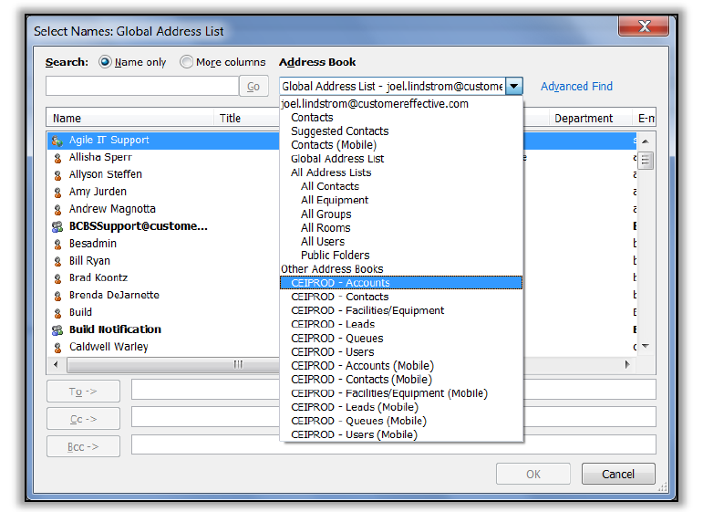 CRM address book